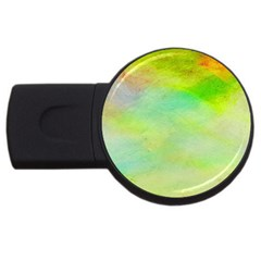 Abstract Yellow Green Oil Usb Flash Drive Round (2 Gb) by BangZart