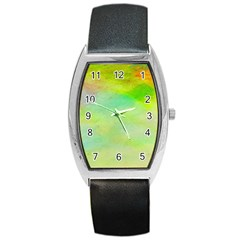 Abstract Yellow Green Oil Barrel Style Metal Watch by BangZart