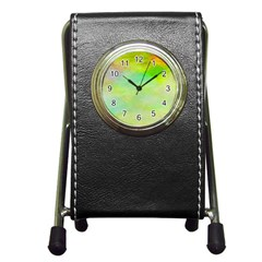 Abstract Yellow Green Oil Pen Holder Desk Clocks by BangZart