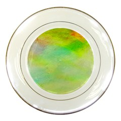Abstract Yellow Green Oil Porcelain Plates by BangZart