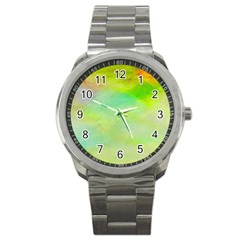 Abstract Yellow Green Oil Sport Metal Watch