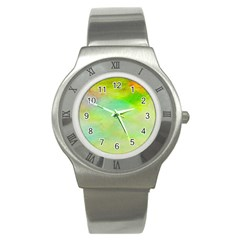 Abstract Yellow Green Oil Stainless Steel Watch by BangZart