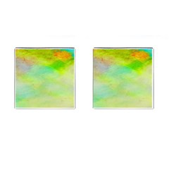 Abstract Yellow Green Oil Cufflinks (square) by BangZart