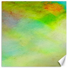 Abstract Yellow Green Oil Canvas 12  X 12