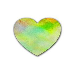 Abstract Yellow Green Oil Heart Coaster (4 Pack)