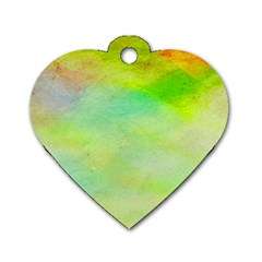 Abstract Yellow Green Oil Dog Tag Heart (two Sides)