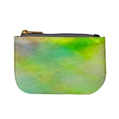 Abstract Yellow Green Oil Mini Coin Purses
