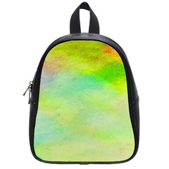 Abstract Yellow Green Oil School Bags (small)  by BangZart