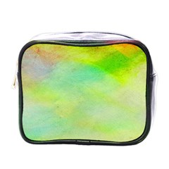 Abstract Yellow Green Oil Mini Toiletries Bags by BangZart