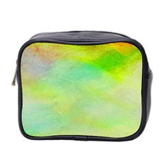 Abstract Yellow Green Oil Mini Toiletries Bag 2 Side by BangZart