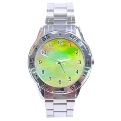 Abstract Yellow Green Oil Stainless Steel Analogue Watch