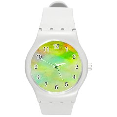 Abstract Yellow Green Oil Round Plastic Sport Watch (m) by BangZart