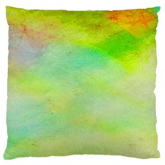 Abstract Yellow Green Oil Large Cushion Case (two Sides) by BangZart