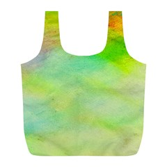 Abstract Yellow Green Oil Full Print Recycle Bags (l)  by BangZart