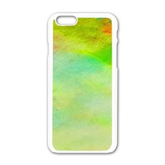 Abstract Yellow Green Oil Apple Iphone 6/6s White Enamel Case