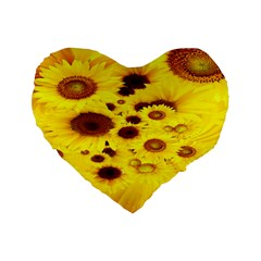 Beautiful Sunflowers Standard 16  Premium Flano Heart Shape Cushions