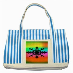 Vector Snowflake Striped Blue Tote Bag