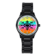 Vector Snowflake Stainless Steel Round Watch by BangZart