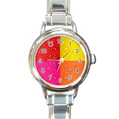 Color Abstract Drops Round Italian Charm Watch by BangZart