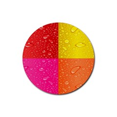 Color Abstract Drops Rubber Coaster (round)  by BangZart