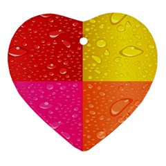 Color Abstract Drops Heart Ornament (two Sides) by BangZart