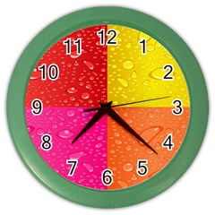 Color Abstract Drops Color Wall Clocks