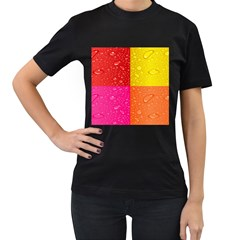 Color Abstract Drops Women s T Shirt (black) by BangZart