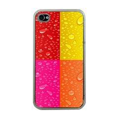 Color Abstract Drops Apple Iphone 4 Case (clear) by BangZart