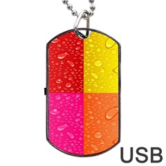 Color Abstract Drops Dog Tag Usb Flash (two Sides) by BangZart