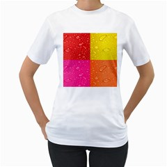 Color Abstract Drops Women s T Shirt (white)