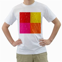 Color Abstract Drops Men s T Shirt (white)