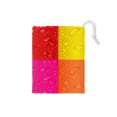 Color Abstract Drops Drawstring Pouches (small)  by BangZart