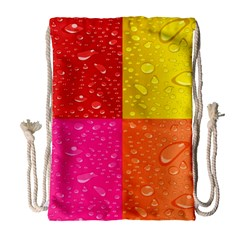 Color Abstract Drops Drawstring Bag (large) by BangZart