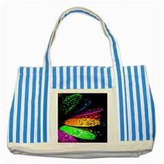 Abstract Flower Striped Blue Tote Bag by BangZart