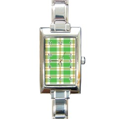 Abstract Green Plaid Rectangle Italian Charm Watch by BangZart