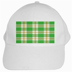 Abstract Green Plaid White Cap by BangZart