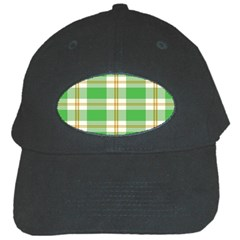 Abstract Green Plaid Black Cap by BangZart