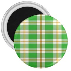 Abstract Green Plaid 3  Magnets
