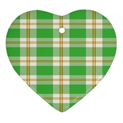 Abstract Green Plaid Ornament (heart) by BangZart