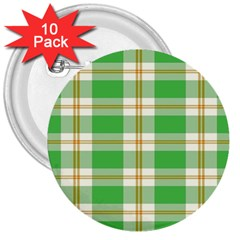 Abstract Green Plaid 3  Buttons (10 Pack)  by BangZart