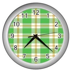 Abstract Green Plaid Wall Clocks (silver)  by BangZart