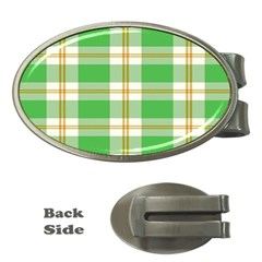 Abstract Green Plaid Money Clips (oval)  by BangZart