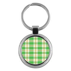 Abstract Green Plaid Key Chains (round)  by BangZart