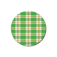 Abstract Green Plaid Rubber Round Coaster (4 Pack)