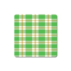 Abstract Green Plaid Square Magnet