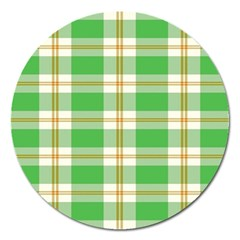 Abstract Green Plaid Magnet 5  (round) by BangZart