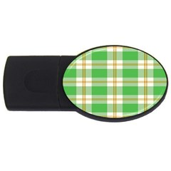Abstract Green Plaid Usb Flash Drive Oval (2 Gb)