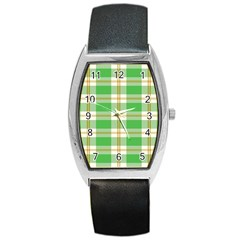Abstract Green Plaid Barrel Style Metal Watch by BangZart