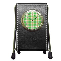 Abstract Green Plaid Pen Holder Desk Clocks by BangZart