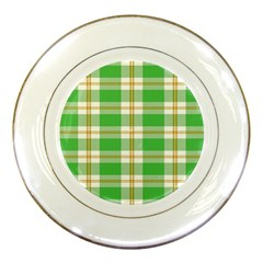 Abstract Green Plaid Porcelain Plates by BangZart